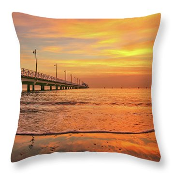 Sunrise Delight On The Beach At Shorncliffe Throw Pillow