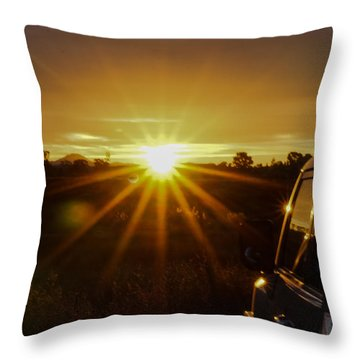 Sunrise And My Ride Throw Pillow