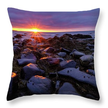 Sunrise Fire On The New Hampshire Coast.  Throw Pillow