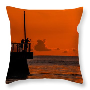 Throw Pillow featuring the photograph Sunrise Fishermen by Don Durfee