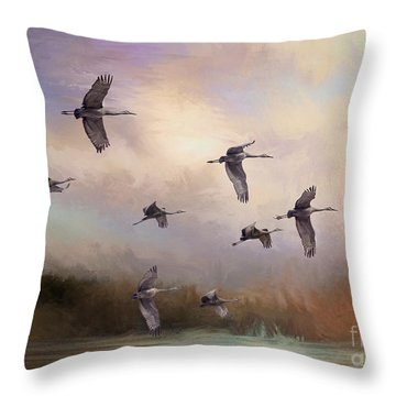 Sunrise Flight Throw Pillow by Janice Rae Pariza