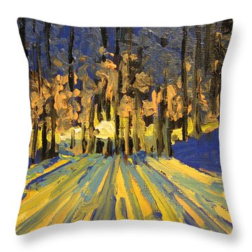 Throw Pillow featuring the painting Sunrise Forest Modern Impressionist Landscape Painting  by Patricia Awapara