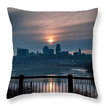 Sunrise From Kaw Point Throw Pillow