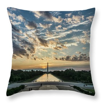 Sunrise From The Steps Of The Lincoln Memorial In Washington, Dc  Throw Pillow