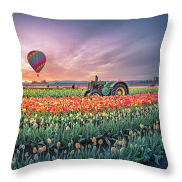 Throw Pillow featuring the photograph Sunrise, Hot Air Balloon And Moon Over The Tulip Field by William Lee