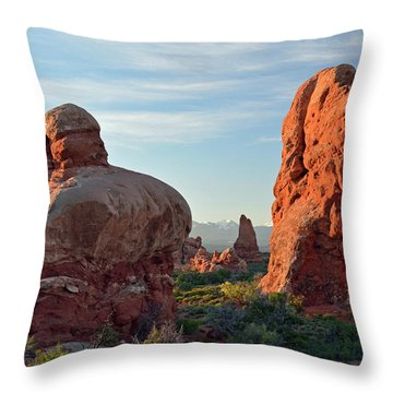 Throw Pillow featuring the photograph Sunrise In Arches National Park by Bruce Gourley