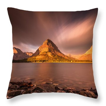 Sunrise In Glacier National Park Throw Pillow