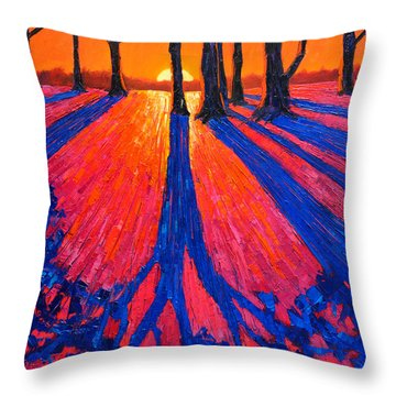 Sunrise In Glory - Long Shadows Of Trees At Dawn Throw Pillow by Ana Maria Edulescu