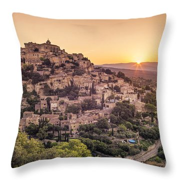 Throw Pillow featuring the photograph Sunrise In Gordes Provence  by Juergen Held