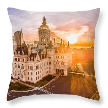 Throw Pillow featuring the photograph Sunrise In Hartford Connecticut by Petr Hejl