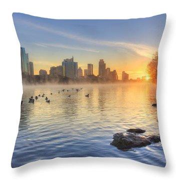 Sunrise In January Over Austin Texas 5 Throw Pillow