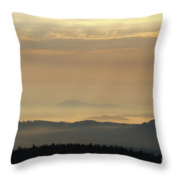 Sunrise In The Mountains - Hills In Morning Mist Throw Pillow by Michal Boubin