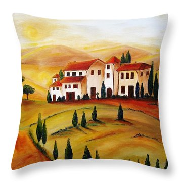Sunrise In Tuscany Throw Pillow by Christine Huwer