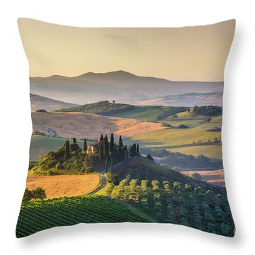 Sunrise In Tuscany Throw Pillow by JR Photography
