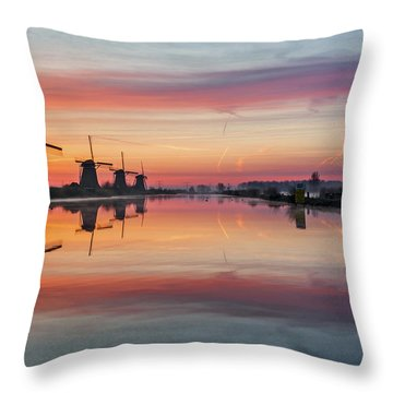 Sunrise Kinderdijk Throw Pillow