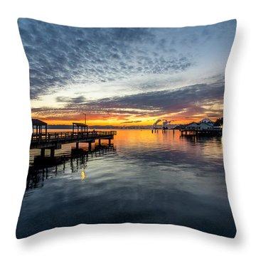 Sunrise Less Davice Pier Throw Pillow