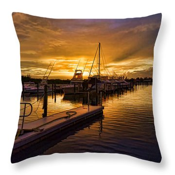 Throw Pillow featuring the photograph Sunrise Marina by Don Durfee