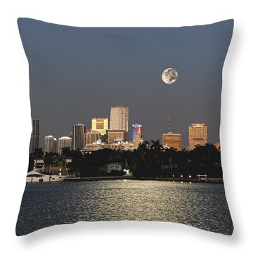 Throw Pillow featuring the photograph Sunrise Moon Over Miami by Gary Dean Mercer Clark