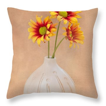 Sunrise Mums Throw Pillow