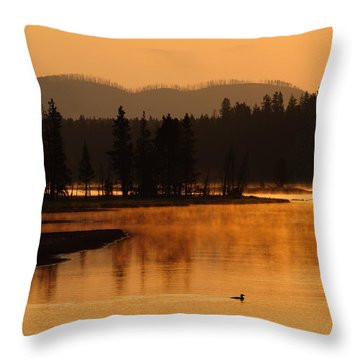 Sunrise Near Fishing Bridge In Yellowstone Throw Pillow by Bruce Gourley