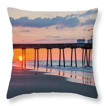 Sunrise Ocean City Fishing Pier Throw Pillow