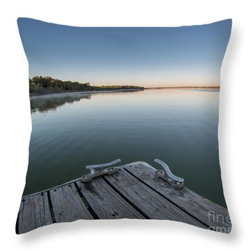 Sunrise On A Clear Morning Over Large Lake With Fog On Top, From Throw Pillow