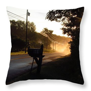 Sunrise On A Country Road Throw Pillow