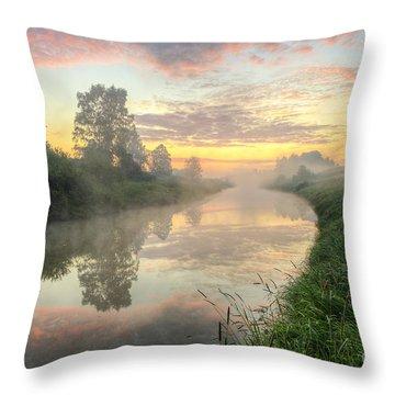 Sunrise On A Misty River Throw Pillow