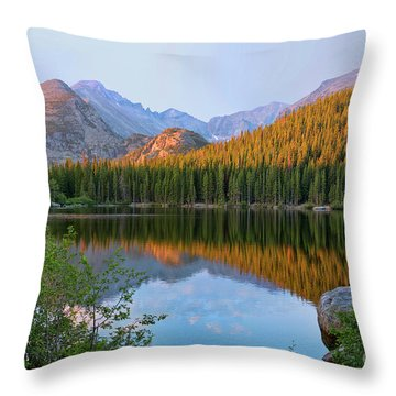 Sunrise On Bear Lake Rocky Mtns Throw Pillow