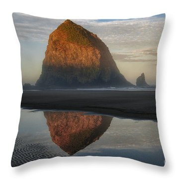 Sunrise On Haystack Rock - Oregon Throw Pillow by Sandra Bronstein