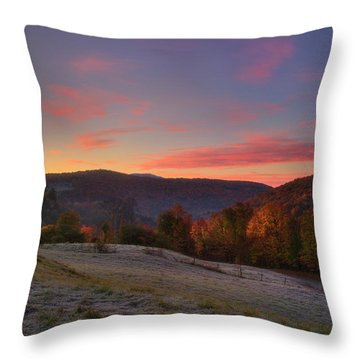 Throw Pillow featuring the photograph Sunrise On Jenne Farm - Vermont Autumn by Joann Vitali