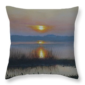 Sunrise On Lake Hollingsworth Throw Pillow by Michael Nowak