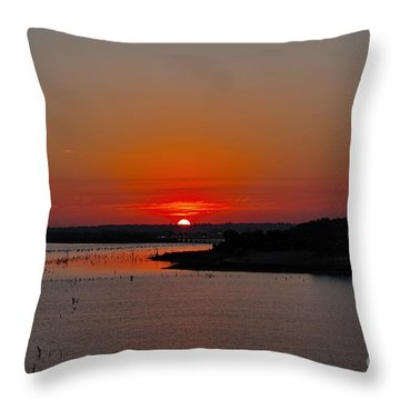 Throw Pillow featuring the photograph Sunrise On Lake Ray Hubbard by Diana Mary Sharpton
