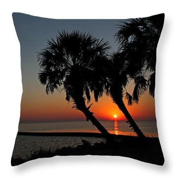 Throw Pillow featuring the photograph Sunrise On Pleasure Island by Judy Vincent