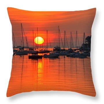 Sunrise On Salem Harbor Salem Ma Throw Pillow