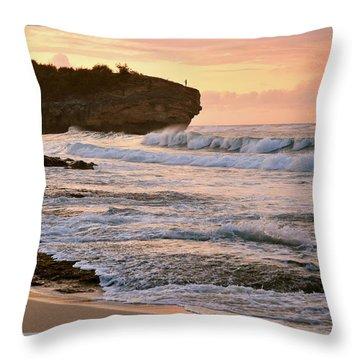 Sunrise On Shipwreck Beach Throw Pillow by Marie Hicks