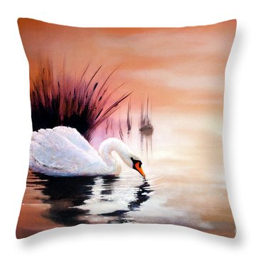 Sunrise On Swan Lake Throw Pillow