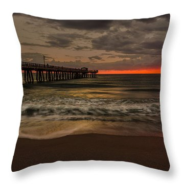 Sunrise On The Beach Throw Pillow
