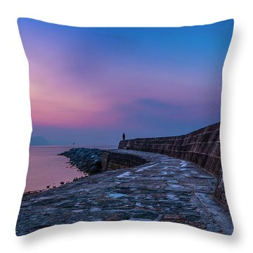 Sunrise On The Cobb, Lyme Regis, Dorset, Uk. Throw Pillow