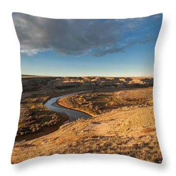 Throw Pillow featuring the photograph Sunrise On The Milk River by Fran Riley