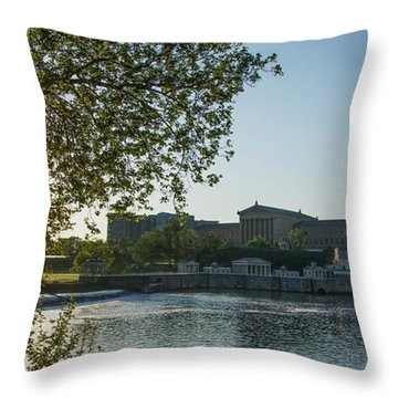 Throw Pillow featuring the photograph Sunrise On The Schuylkill River - Philadelphia Art Museum by Bill Cannon
