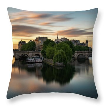 Sunrise On The Seine Throw Pillow