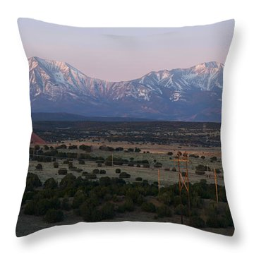 Throw Pillow featuring the photograph Sunrise On The Spanish Peaks by Aaron Spong