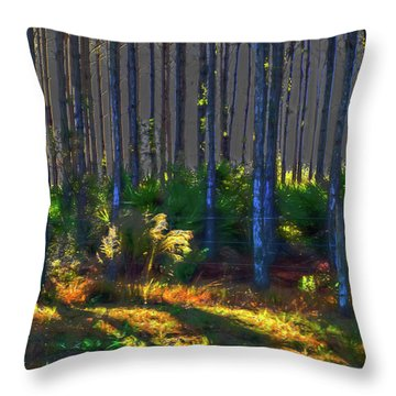 Sunrise On Tree Trunks Throw Pillow