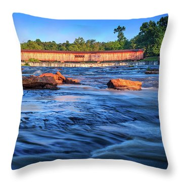 Sunrise On Watson Mill Bridge Throw Pillow