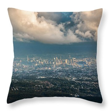 Throw Pillow featuring the photograph Sunrise Over A Cloudy Brisbane by Parker Cunningham