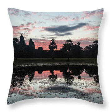 Sunrise Over Angkor Wat Throw Pillow