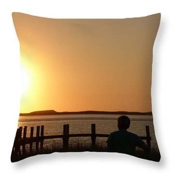 Sunrise Over Assateaque Throw Pillow by Donald C Morgan