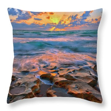 Throw Pillow featuring the photograph Sunrise Over Carlin Park In Jupiter Florida by Justin Kelefas