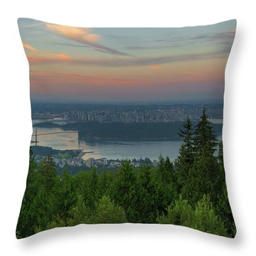 Sunrise Over City Of Vancouver Bc Canada Throw Pillow by David Gn